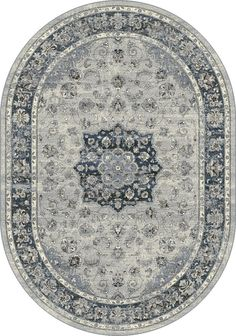 Dynamic Rugs Ancient Garden Silver/Blue Distressed Oval Area Rug
