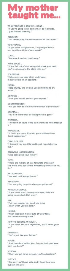 Lessons from Mom - funny pictures - funny photos - funny images - funny pics - funny quotes - funny animals @ humor This is also so true