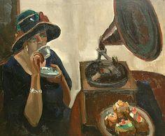 Toon Kelder A Lady Drinking Tea 1920-35 - still life quick heart
