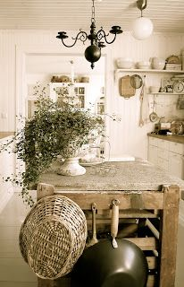 look at the details of fun country kitchen storage.... utilize hanging items