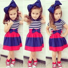 3pcs Toddler Baby Girls Outfits Headband+T-shirt+Striped Skirt Kids Clothes Set