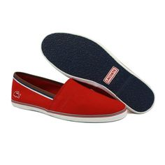 A fashionable flat shoe for smart looking men. - Lacoste Aimard AP Mens Slip On Red Textile Trainers