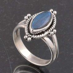 BLUE FIRE LABRADORITE 925 SOLID STERLING SILVER FASHION RING 4.16g DJR6352 #Handmade #Ring