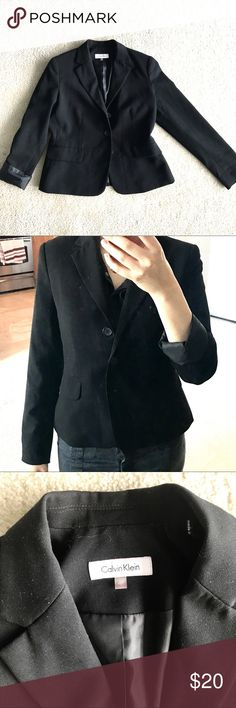 Calvin Klein black blazer - great condition Great condition Calvin Klein Suit blazer. Size 4P Worn twice.  No defects or smells, just been hanging in my closet and I don't wear it anymore.  Please feel free to ask any questions :) Calvin Klein Jackets & Coats Blazers