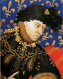Charles VI, the Beloved, the Mad (1368 - 1422). King of France from 1380 to 1422. He married Isabeau of Bavaria and had eight children. He was very popular, but his insanity allowed the English to invade France. He was forced to disinherit his sons and leave to the throne to the English King, Henry V, who married his daughter Katherine.
