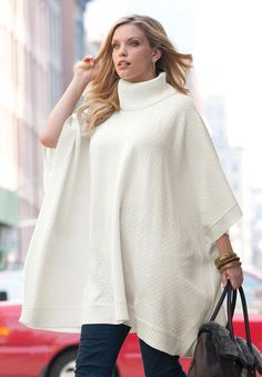 Plus Size Sweater Poncho | PLUS Size Trend Of The Day…Turtleneck Sweater Poncho From Jessica ...