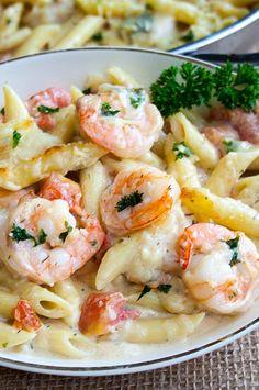 Shrimp Pasta Bake, Garlic Shrimp Pasta, Seafood Pasta, Seafood Dinner, Penne Pasta, Easy Pasta Bake, Healthy Shrimp Pasta, Shrimp Casserole, Fish Pasta