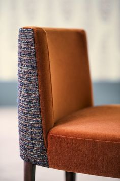 """2019 : The launch of Pierre Frey first Furniture Collections. / """"ARSENE"""" Coiffeuse Chair upholstered in """"MALOU"""" on the back and """"DUKE"""" on the front / image by Philippe Garcia Custom Carpet, Diy Carpet, Beige Carpet, Patterned Carpet, Pierre Frey Fabric, Dinning Chairs, Carpet Trends, Carpet Colors, Upholstered Chairs"""