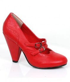 Make Millie yours! A radiant retro inspired pair of Mary Janes that harness vintage verve - timeless red pumps with brog...Price - $78.00-P1DPyt1a