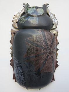 "Wand Skulptur moderne Keramik Skulptur Wand Keramik Plastik Käfer  Projekt ""Entomologische Kollektion""Gewicht 3kg"