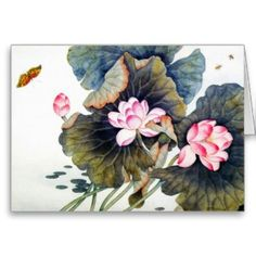 SOLD! - cool oriental chinese beautiful lotus leaf butterf cards