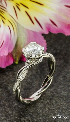 Platinum Twisted Diamond Engagement Ring #GreenLakeJewelry #diamondrings