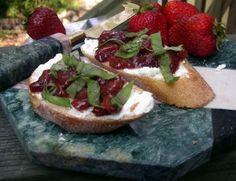 Strawberry Balsamic and Basil Bruschetta with goat cheese!