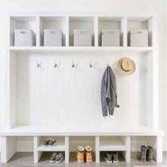 ✓ 70 Attractive Farmhouse Mudroom Entryway Ideas – Best Home Decorating Ideas - Page 48 Gray Interior, Interior Design, Room Interior, Interior Ideas, Hallway Storage, Storage Hooks, Storage Shelves, Garage Storage, Shoe Shelves