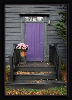Image result for black house with purple door