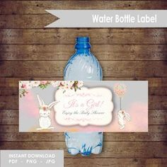 Editable It's a Girl Baby Shower Water Label