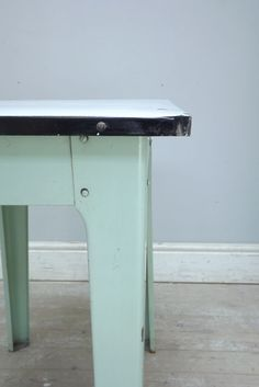 French vintage mint coloured enamel table detail
