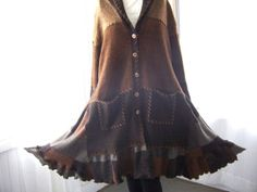 Reserved for Patti Reconstructed Lagenlook Long Sweater Coat Duster Chenille Knit Warm Brown Earth Tones Up To 2X