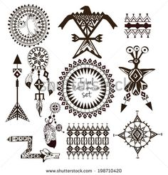 Tribal native american indian tribes ornamental black and white decorative elements set isolated vector illustration - stock vector