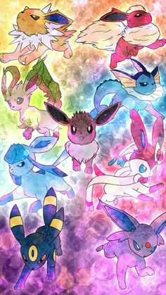 Eevee evolutions, Sylveon, Vaporeon, Flareon, Jolteon, Glaceon, Leafeon, Umbreon, Espeon; Pokémon
