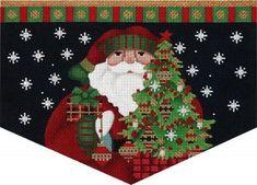 Melissa Shirley Designs - Red Bird Santa Cuff - Needle Nook Canvas Designs, Needlepoint Canvases, Book Gifts, Nook, Santa, Kids Rugs, Bird, Stitch, Holiday Decor