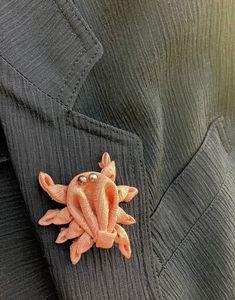 Crab Lapel Pins Mens Lapel Pin Silk Boutonniere Dungeness Crab | Etsy