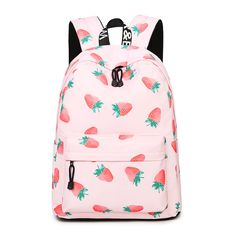Brand Women Backpack Fruits Printing Women Preppy School Bags For Teenagers Men Canvas Travel Bags Girls Laptop Backpack Mochila Best Backpacks For School, Cool School Bags, School Bags For Girls, Girls Bags, School Fun, College Backpacks, Middle School, School Ideas, Pretty Backpacks