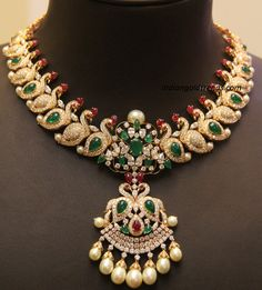 Diamond Necklaces : Jewellery Designs: Trendy Mango Necklace By Kirtilals. - Buy Me Diamond Swan Necklace, Peacock Necklace, Emerald Necklace, Bridal Necklace, Bridal Jewelry, Necklace Set, Peacock Jewelry, Indian Gold Jewellery Design, Indian Jewelry