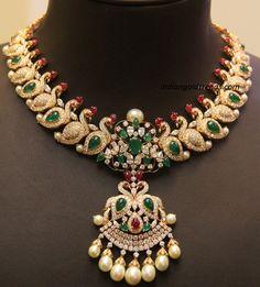 Diamond Necklaces : Jewellery Designs: Trendy Mango Necklace By Kirtilals. - Buy Me Diamond Swan Necklace, Peacock Necklace, Emerald Necklace, Bridal Necklace, Bridal Jewelry, Necklace Set, Peacock Jewelry, Indian Jewellery Design, Indian Jewelry