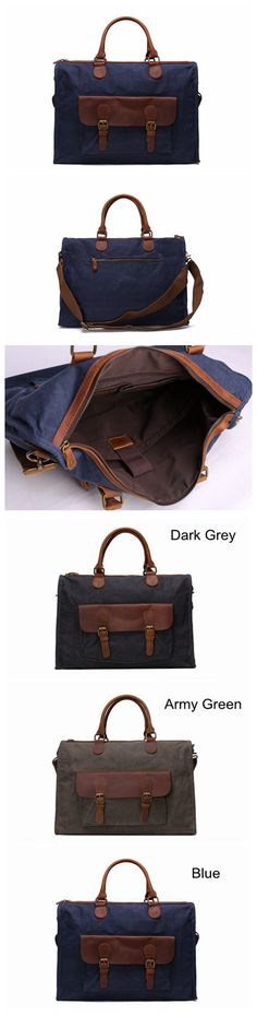 Waxed Canvas and Leather Messenger Bag, Laptop Briefcase, Shoulder Bag YD2167