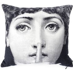Fornasetti Silence pillow ($186) ❤ liked on Polyvore featuring home, home decor, throw pillows, white, white throw pillows, black white home decor, fornasetti, black and white throw pillows and black white accent pillows