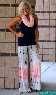 Tie Dye Palazzo Pants. Infinity Scarf. Summer Wardrobe. NOJ Boutique.