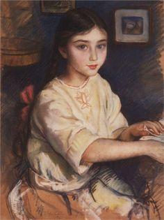 Portrait of O.I. Rybakova in childhood, 1923  -  Zinaida Serebriakova