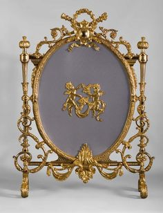 Very beautiful antique gilt bronze firescreen with putti and guarlands of flowers - Galerie Marc Maison Art Furniture, Antique Furniture, Dressing Screen, Mirrored Picture Frames, Charred Wood, Architectural Antiques, Warm Blankets, Objet D'art, Timeless Beauty