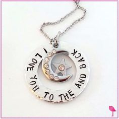 I Love You to the Moon and Back Bling Chicks Charm Necklace