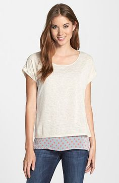 Gibson+Woven+Underlayer+Knit+Tee+(Regular+&+Petite)+available+at+#Nordstrom