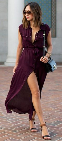 #summer #musthave #outfits |  Wine Shirt Dress