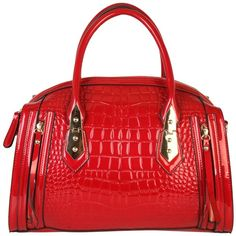 Rimen & Co. Womens PU Patent Leather Crocodile Texture Turn Lock... ($26) ❤ liked on Polyvore featuring bags, handbags, croco handbag, handbag satchel, patent handbags, purse satchel and patent purse