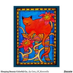 Sleeping Beauty Colorful Cat Art Poster Cat Paintings by Dora Hathazi Mendes. A gorgeous ginger cat having her beauty sleep, surrounded with lovely flowers, and a hand painted frame. The combination of warm tones, vibrant colors, and organic motifs, creating a colorful feminine feline painting. Ideal home decor for girls room. By #dorahathazi