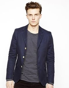Selected Blazer With Contrast Buttons