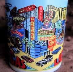 Las Vegas Souvenir Coffee Cup Tea Mug Casinos Hotels Strip Flamingo Luxor Mirage