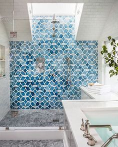 Perfect shower, perfect color  #stylebynorth - Love the tiles!!