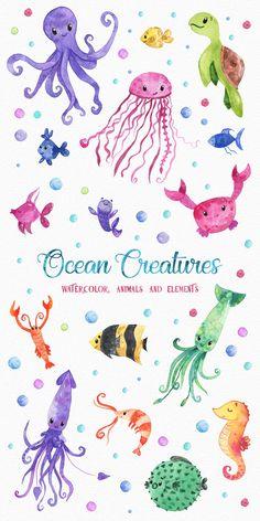 Ocean Friends Watercolor Clipart by LeMagiqueBoutique on Watercolor Clipart, Watercolor Ocean, Watercolor Animals, Watercolour, Sea Creatures Drawing, Ocean Creatures, Illustrations Vintage, Illustration Vector, Animal Illustrations