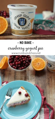 Simple to make, No Bake Cranberry Yogurt Pie is light and creamy and the perfect addition to your holiday dessert table! Yogurt Pie, Greek Yogurt, Greek Gods, Bakery, Eat, Breakfast, Desserts, Recipes, Food