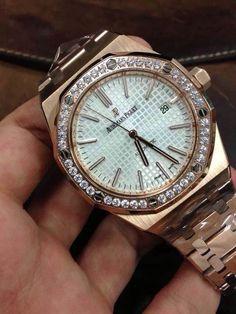 Audemars Piguet Royal Oak 41mm RG 15400 Best Edition Diamonds Bezel Silver Dial on SS Bracelet A2824 sku0135b