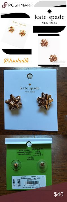 KS rosegold bourgeois bow earrings Brand new authentic Kate Spade bourgeois bow rosegold earrings. Perfect for Christmas gift. kate spade Jewelry Earrings