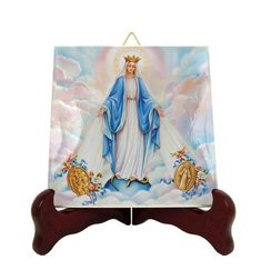 Our Lady of the Miraculous Medal - icon on tile - Virgin Mary icons - catholic gifts - Virgin of the Miraculous Medal - devotionals - faith