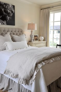 Master bedroom bedding. Mixing Cottons and Linen. LOVE THE RUFFLE!#Repin By:Pinterest++ for iPad#