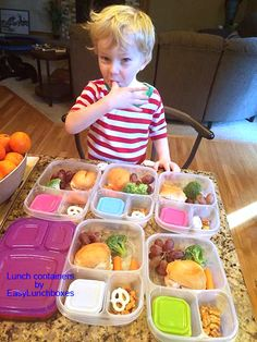 """Can I eat all these at once Mom??"" Lunches packed for the week in @easylunchboxes. From  Don't Break the Piggy Bank: https://www.facebook.com/dontbreakthepiggybank/photos/pb.10150113790795652.-2207520000.1421260069./10154432188975652/?type=3&theater"