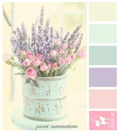 Sweet Summertime - Lavender, rose, lilac, pink, blush, pastel, green, cream Designcat Colour Inspiration Board Más